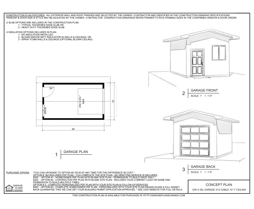 12 w x 20 l garage with 3 12 gable roof 10 1 ceiling for Gable garage plans