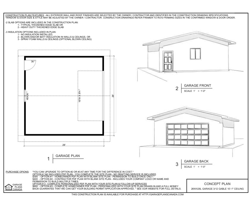 26 x 26 garage MAPLE LEAF CANADIAN HOME PLANS – 26 X 26 Garage Plans